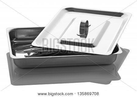 Tray with surgical tools from stainless steel isolated on a white background