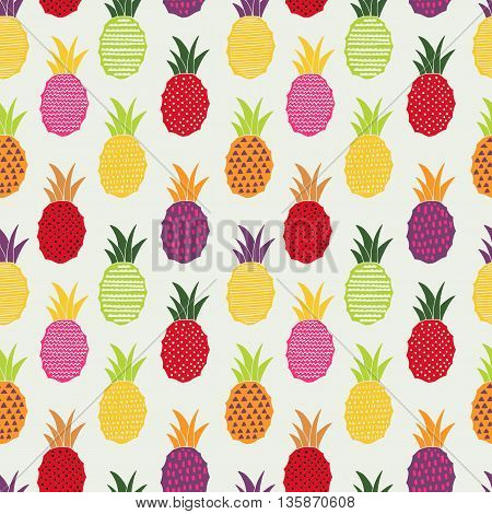 Modern summer seamless pattern. Hand drawing pineapple background for web and graphic design