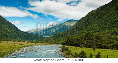 River Flowing Through A Valley On A Summer Day
