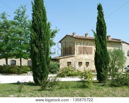View of a Country house in Tuscany, Italy