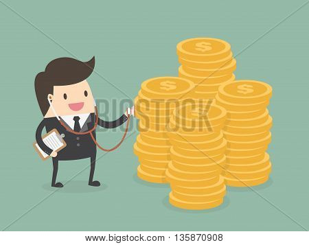 Financial health check. Businessman using stethoscope to check money health