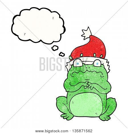 freehand drawn thought bubble textured cartoon frog in christmas hat