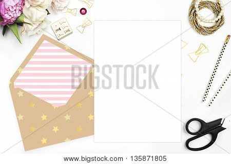 Floral with stationery on table invitation card wedding mockup white background. Gold the envelope. Header website or Hero website