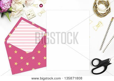 Woman desktop template card Mock up for your photo or text Place your work. Peonies and gold stationery. Gold Polka. Header website or Hero website. Gold stars