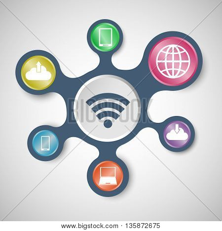 Internet infographic templates with connected metaballs, stock vector