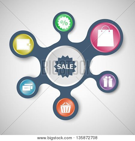 Shopping infographic templates with connected metaballs, stock vector