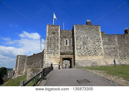 DOVER, UK - JUNE 12, 2014: Dover Castle on June 12, 2014 in Dover, UK. It is the largest castle and a landmark in England.