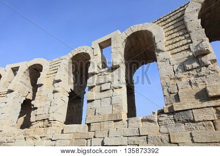 architectural details of Arles amphitheater, a UNESCO world heritage and a landmark in the province of Provence