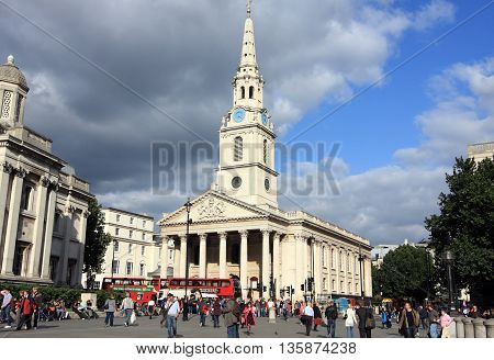 LONDON UK - SEPTEMBER 6 2009: Saint Martin Church at Trafalgar Square on September 6 2009 in London UK. It is one of the most visited public space and tourist attractions in central London.
