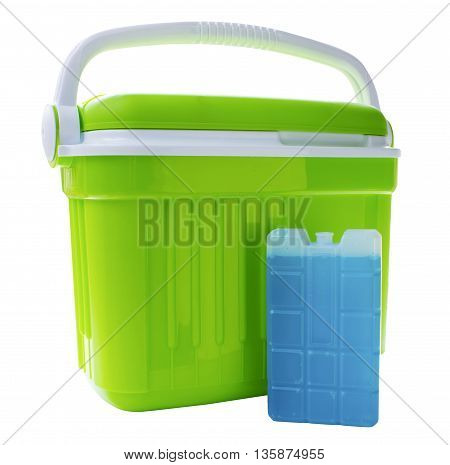 Green cool box with a blue ice block on an isolated white background with a clipping path