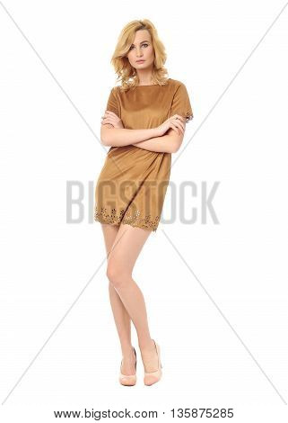 Beauty blonde woman in short nightdress isolated on white background