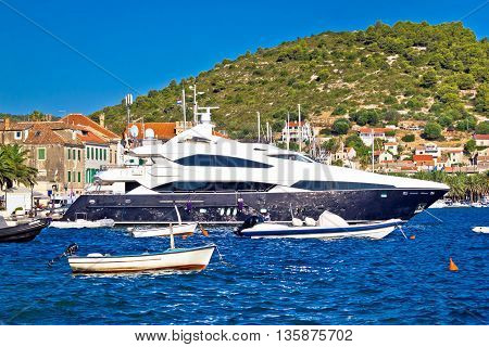 Luxury yachts in Vis harbor summer view famous tourist destination of Croatia