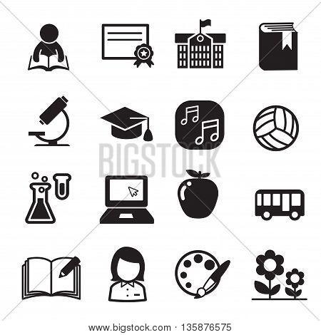 Basic School icon set Vector illustration Graphic design