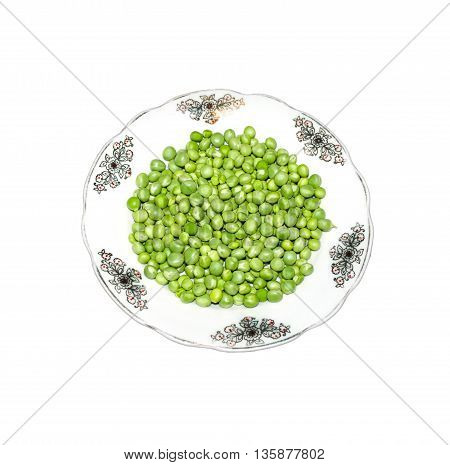 green peas on plate for cooking healthy food