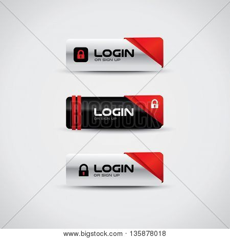 Login buttons with lock icon and high contrast colors
