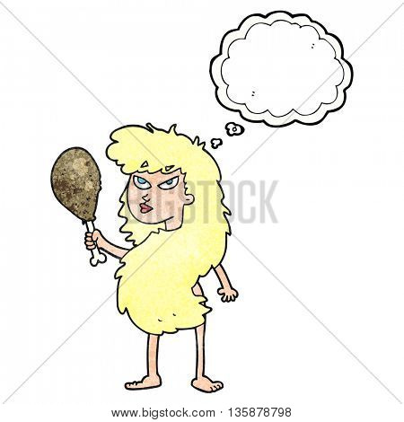 freehand drawn thought bubble textured cartoon cavewoman with meat