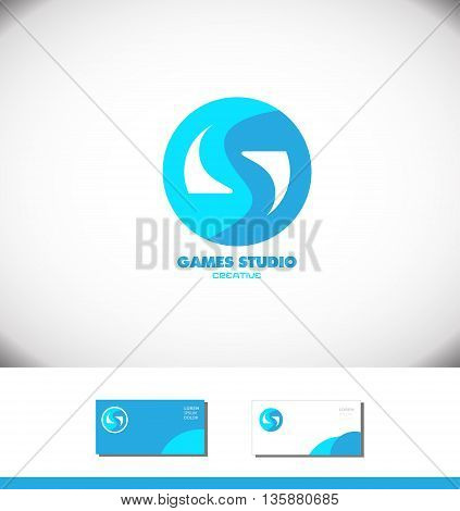 Vector company logo icon element template letter s games gaming play playing blue