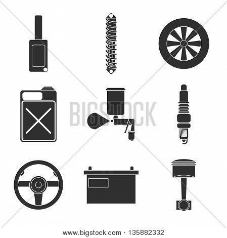 Car service flat icon set. Vector illustration, EPS 10