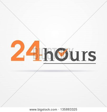 24 hours label in graphic style. Typical simplistic 24 hours label with stylized clock. Isolated 24 hours label with shadow. 24 hours label vector stock image.