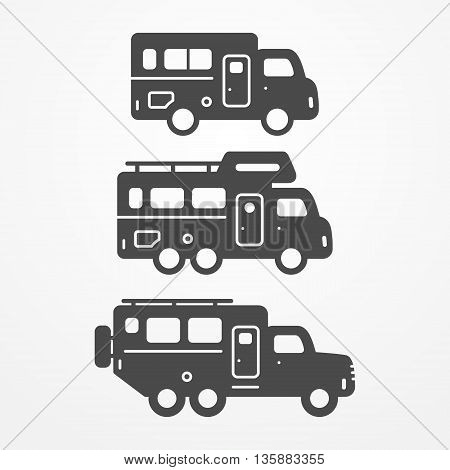 Collection of camping truck icons. Travel truck symbols in silhouette style. Camping trucks vector stock illustration. Heavy trucks with camping equipment.