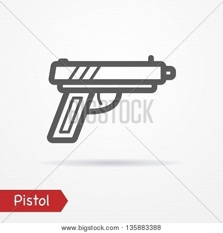 Abstract pistol in line style. Typical simplistic modern pistol. Isolated pistol icon with shadow. Pistol vector stock image.