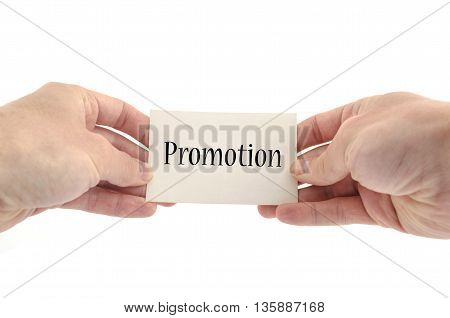 Promotion account text concept isolated over white background