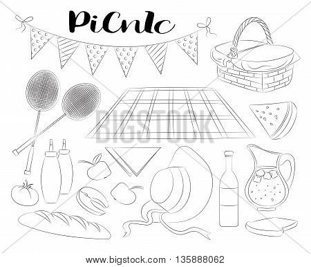 Hand drawn doodle Picnic icons set Vector illustration barbecue sketchy symbols collection. Summer picnic Umbrella Guitar Food basket Drinks Wine Sandwich Sport activities