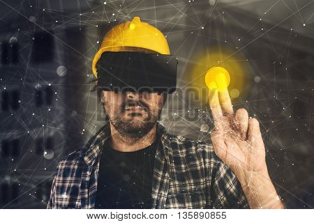 Construction engineer with VR goggles managing building project futuristic 3d cyberspace technology in architecture and construction industry