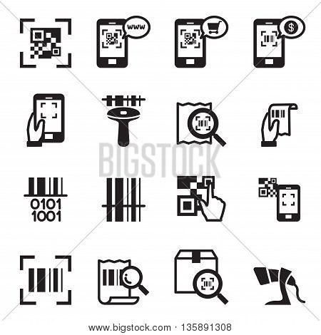 Check code Barcode QR code Reader Icons set Vector illustration