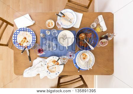 Table with several dirty dishes arranged on it