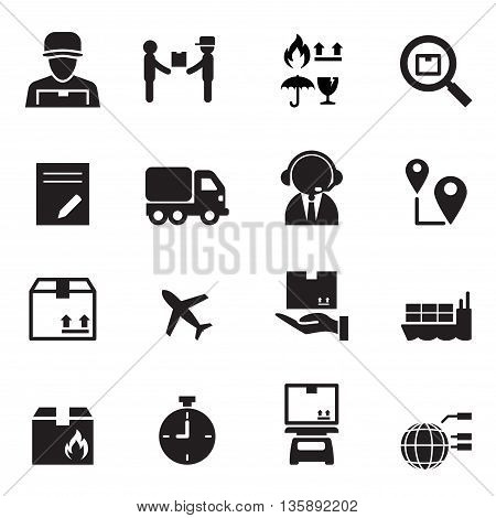 Shipping & Logistics icons set vector illustration  graphic design