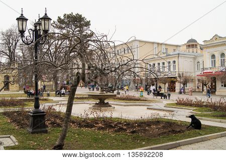 Kislovodsk, Russia - 28 February, Square with a fountain and a lantern, 28 February, 2016. Resort zone Mineral Waters, Krasnodar region.