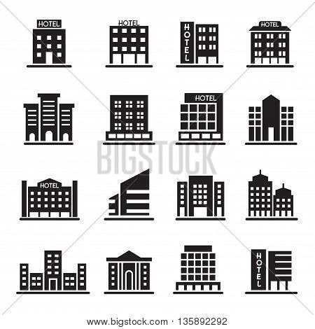 Hotel Building Office tower Building icons set illustration