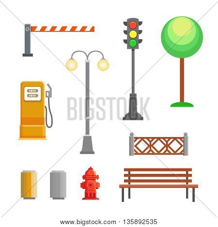 street element icons set. Bench, hydrant and trafficlights, streetlights with fence, barrier, gas station