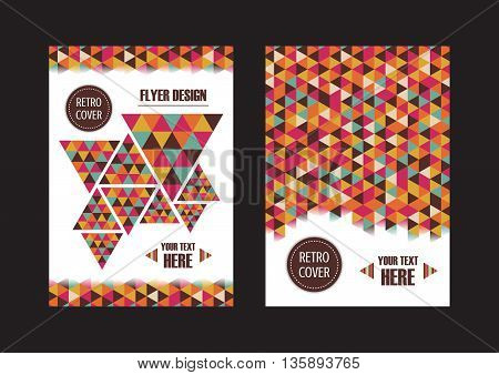 the abstract color stripe cover retro flyer
