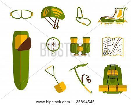 Сlimbing Set: Carbines, Ice Ax, Boots With Crampons, Backpack, Compass,  Sleeping Bag, Goggles, Bino