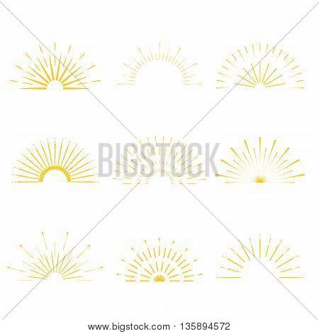 Retro Sun Burst Shapes. Vintage Starburst Logo, Labels, Badges. Sunburst Minimal Logo Frames. Vector
