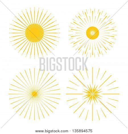 Retro Sun Burst Shapes. Vintage Starburst Logo, Labels, Badges. Sunburst Minimal Logo Frames. Vector