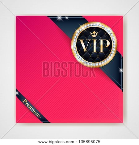 VIP club party premium invitation card poster flyer. Black and red design template. Golden ribbons with round stamp label decorative vector background.
