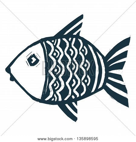Dark blue ink color vector stylized hand drawn grunge fish