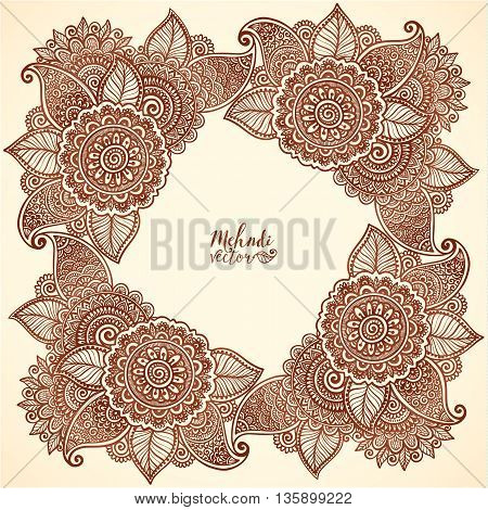 Brown henna colors vector floral frame in Indian mehndi henna tattoo style