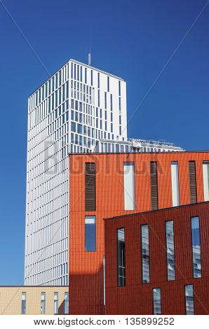 MALMO SWEDEN - AUGUST 17 2015: Part of the new building blocks Malmo Live. Consist of apartments hotels congress and concert hall.