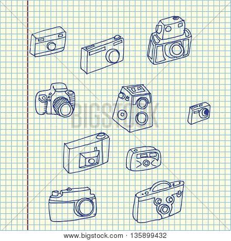Photo cameras set. Hand drawn vector stock illustration. Sheet ballpen drawing.