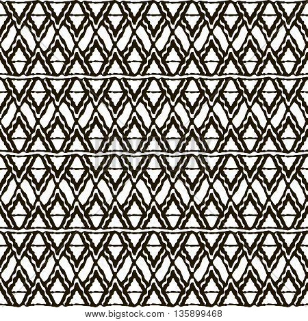 Seamless black and white pattern with ethnic motifs. Horizontal stripes triangular and rhomboid shapes. Abstract scaly ornament in hand drawing style. Vector illustration for creative design