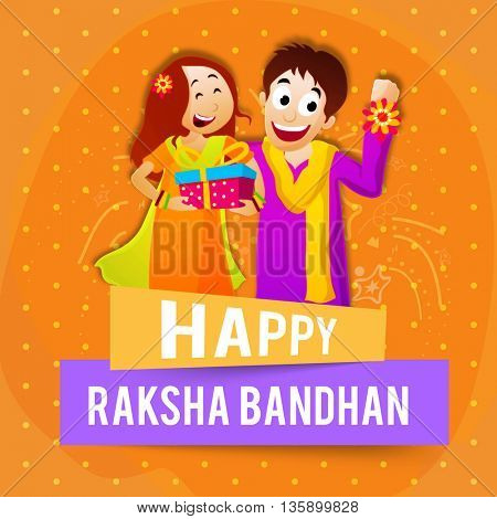 Cute Brother showing his Rakhi and Sister holding gift on orange background, Elegant Greeting Card design with Stylish Text  Happy Raksha Bandhan on paper banners.