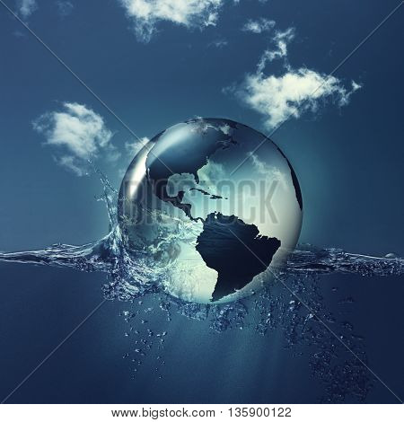 Save the planet. Earth globe on the water waves abstract natural backgrounds for your design, not 3D rendered