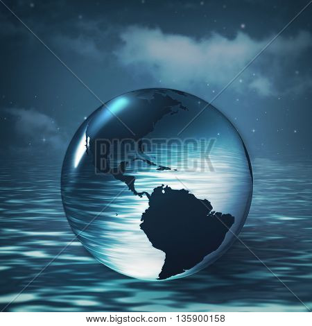 Earth sphere over ocean surface abstract environmental backgrounds for your design, not 3D rendered