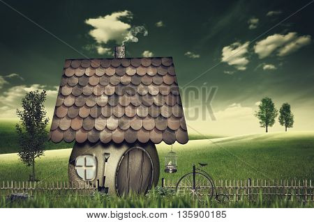 Beauty farmland and house. Abstract fairy tale backgrounds. Retro style for your design, not 3D rendered