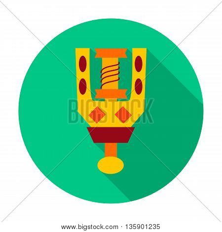 Spindle flat circle icon. Vector illustration of spindle for spinning wool.