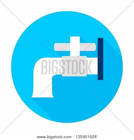 Water faucet flat circle icon. Vector illustration of water faucet on blue.